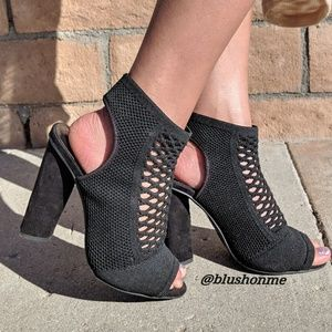 Shoes - Open Toe Mesh Sling Back Booties